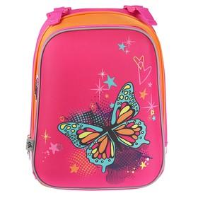 Рюкзак каркасный YES H-12 38 х 29 х 15 см, для девочки, Centre butterfly, розовый