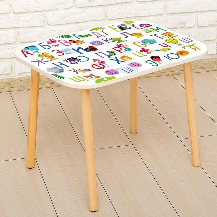 Стол с деревянными ножками «Алфавит с животными», цвет белый