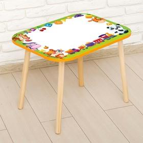 Стол с деревянными ножками «Весёлые зверята», цвет оранжевый