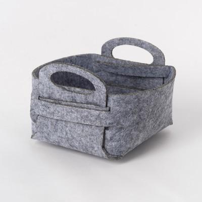 Textile basket for storage, grey 12x7 cm
