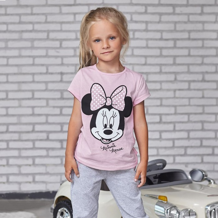 "Футболка Disney ""Minnie Mouse"", рост 122-128 (34), розовый"