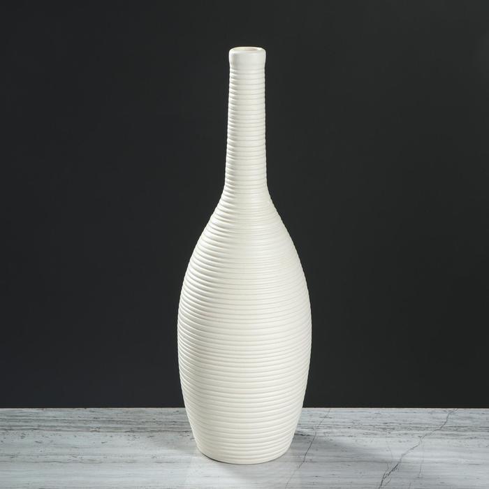 """Ваза настольная """"Кегля"""", белая, матовая, 35 см, керамика"""