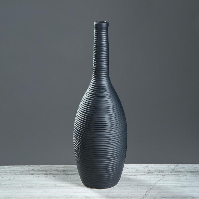 """Ваза настольная """"Кегля"""", чёрная, матовая, 35 см, керамика"""
