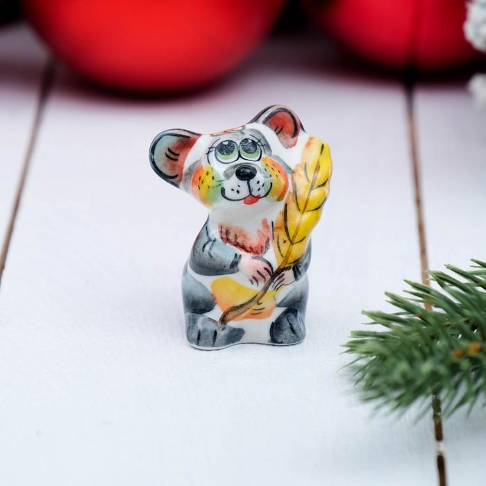 Сувенир «Мышка с колоском», 5 см, цвет, гжель