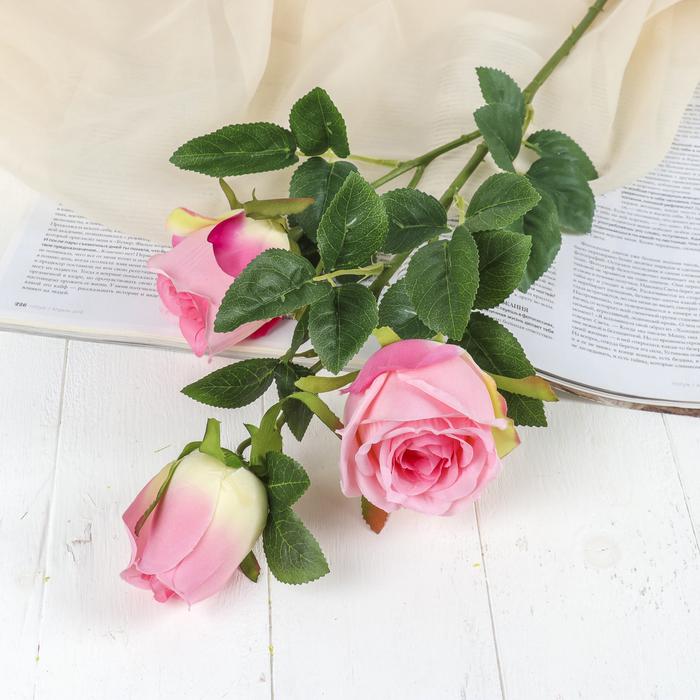 """Цветы искусственные """"Роза Фламинго"""" 6*66 см, розовый"""