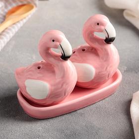 Набор для специй «Фламинго», 2 шт: солонка и перечница, на подставке