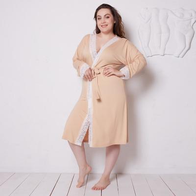 Bathrobe with long sleeves MINAKU, size 52 color beige