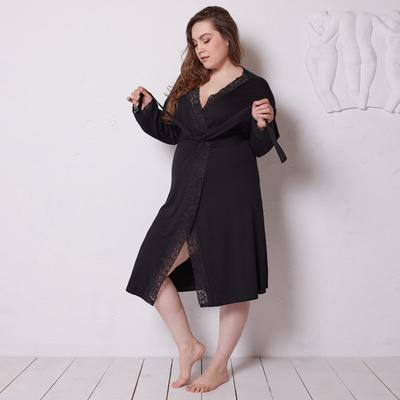Bathrobe with long sleeves MINAKU, size 56, black