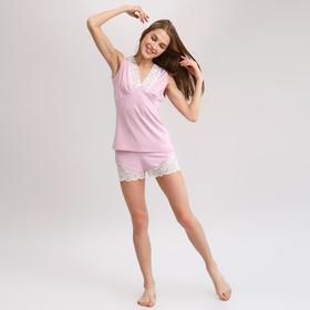 Топ с кружевом на груди женский MINAKU, размер 42, цвет розовый
