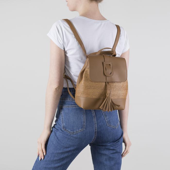 Рюкзак-сумка, отдел на шнурке, цвет коричневый
