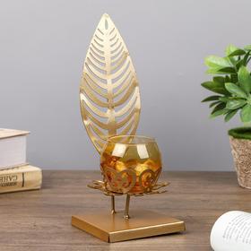 """Подсвечник металл, стекло на 1 свечу """"Пальмовый лист"""" золото 24х9х9 см"""