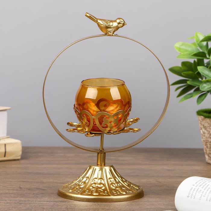 """Подсвечник металл, стекло на 1 свечу """"Птичка на круге"""" золото 22х14,5х12 см"""