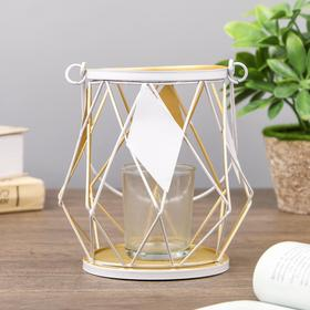 """Подсвечник металл, стекло на 1 свечу """"Ромбы"""" 13х11х11 см"""