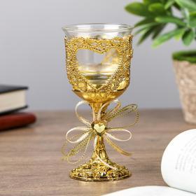 """Подсвечник пластик, стекло на 1 свечу """"Сердце и бант"""" бокал на ножке золото 12,5х6,3х6,3см"""