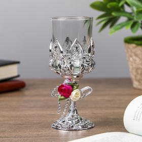 """Подсвечник пластик, стекло на 1 свечу """"Розочки"""" бокал на ножке серебро 13х6х6 см"""