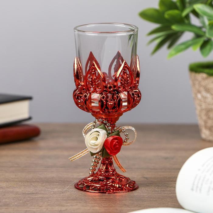"Подсвечник пластик, стекло на 1 свечу ""Розочки"" бокал на ножке красный 13х6х6 см"