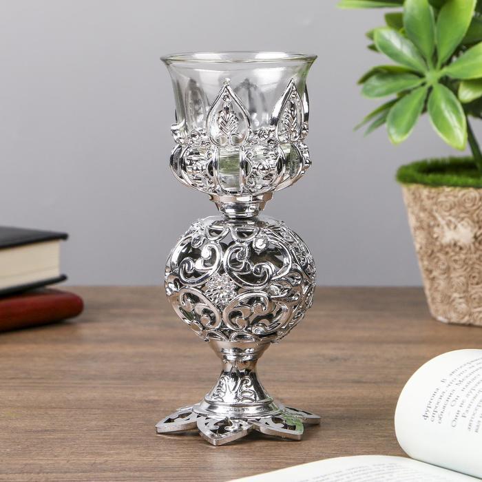 Подсвечник пластик, стекло на 1 свечу ''Ажурный шар'' бокал на ножке серебро 15х6х6 см   4287732
