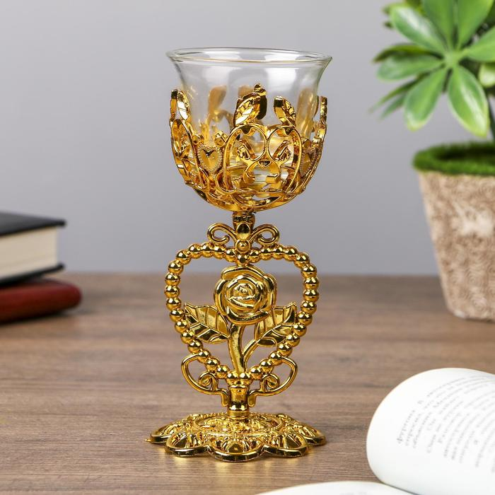 Подсвечник пластик, стекло на 1 свечу ''Роза в сердце'' бокал на ножке золото 15х6,3х6,3 см   4287735