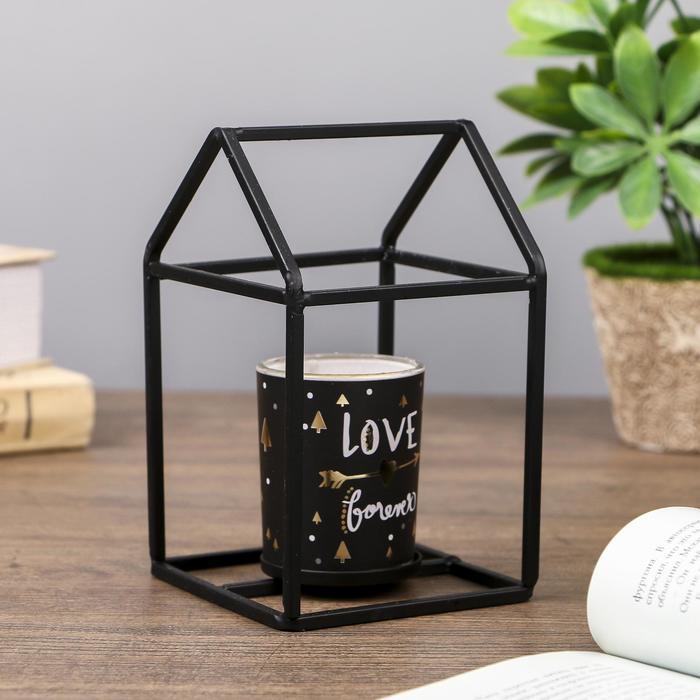 """Подсвечник металл, стекло на 1 свечу """"Домик"""" чёрный 14х9х9 см"""