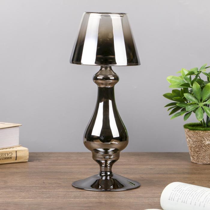"""Подсвечник стекло на 1 свечу """"Классика с абажуром"""" серебро 29,5х12х12 см"""