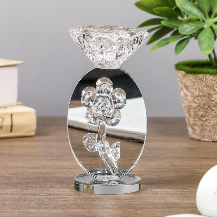 """Подсвечник стекло на 1 свечу """"Ромашка на зеркале"""" 13х6,5х6,5 см"""