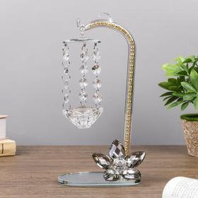 """Подсвечник стекло на 1 свечу """"Подвесная качель и цветок"""" бусинки 26х15х9 см"""