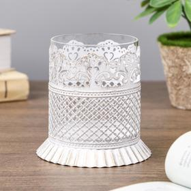 "Подсвечник металл, стекло 1 свеча ""Ажурная салфетка"" золотая патина 10х10х10 см"