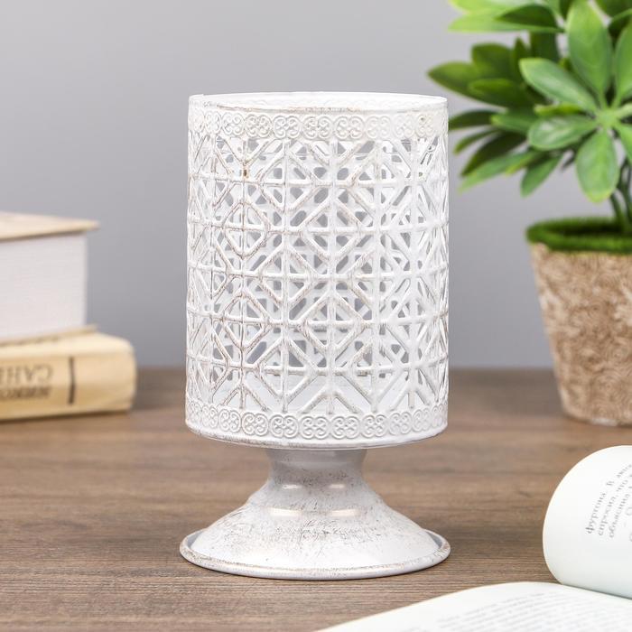 "Подсвечник металл, стекло 1 свеча ""Геометрия"" золотая патина 14х8х8 см"
