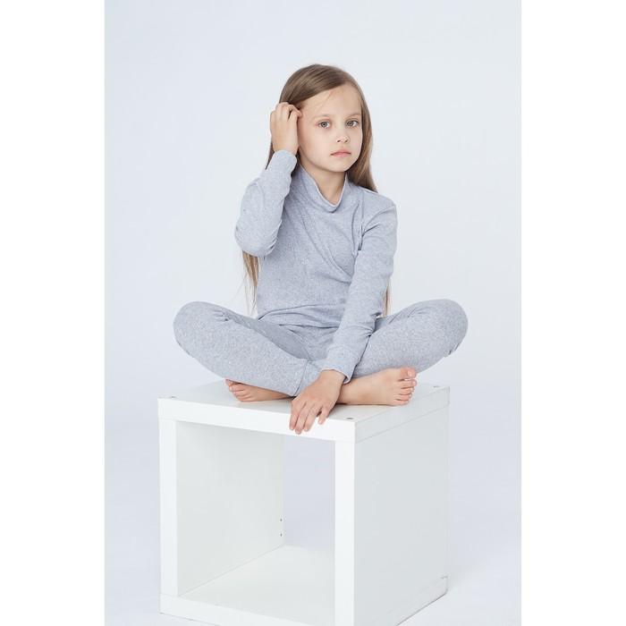 Комплект для девочки 1252 (термо), серый меланж, рост 122-128 (32), рибана