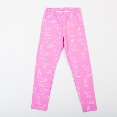 Леггинсы для девочки, цвет розовый принт, рост 104 см