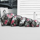"Set of cosmetic bags semi-oval ""Flowers"" 5 in 1, color black"