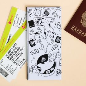 """Набор """"Для котопутешествий"""", туристический конверт, обложка на паспорт, бирка на чемодан - фото 4638274"""