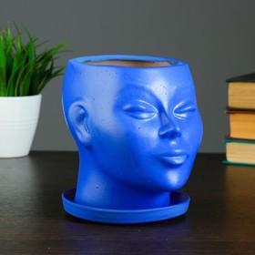 "Фигурное кашпо ""Голова"" синее 15 см"