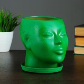 """Фигурное кашпо """"Голова"""" зеленое 15 см"""