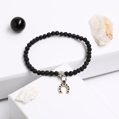 """Bracelet with pendant ball No. 4 """"Lava"""", color: black"""