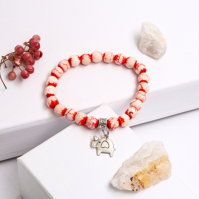 "Bracelet with pendant ball No. 8 ""coral"""