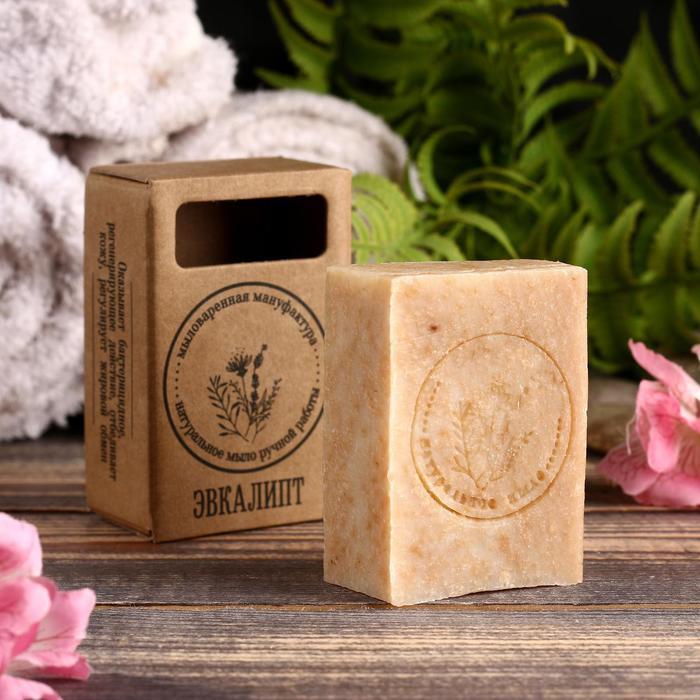 """Натуральное крафтовое травяное мыло """"Эвкалипт"""" в коробке, """"Добропаровъ"""", 100 г"""