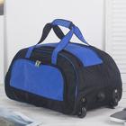 Сумка дорожная на колёсах, отдел на молнии, наружный карман, цвет чёрный/синий
