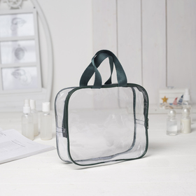 Cosmetic bag PVC, division zipper, with handle, color green