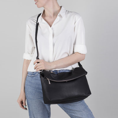 21df84e7e63e Сумка женская, отдел на молнии, наружный карман, длинный ремень, цвет чёрный