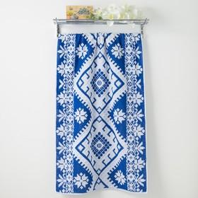 Полотенце махровое Privilea Славянка 70х140 см, синий, хлопок 100%, 495 г/м2