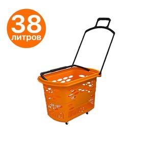 Корзина-тележка на 4 колесах пластиковая, 38 л, с 2 пластиковыми ручками, цвет оранжевый Ош
