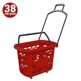 Корзина-тележка на 4 колесах пластиковая, 38 л, с 2 пластиковыми ручками, цвет красный Ош