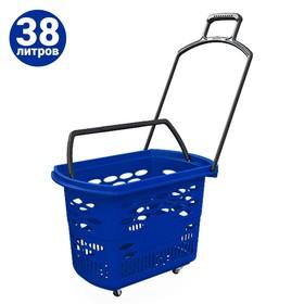 Корзина-тележка на 4 колесах пластиковая, 38 л, с 2 пластиковыми ручками, цвет синий Ош