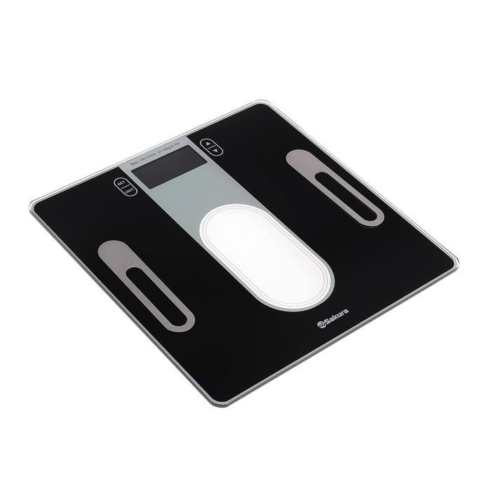 Весы напольные Sakura SA-5074BK, электронные, до 180 кг, с анализатором, чёрные