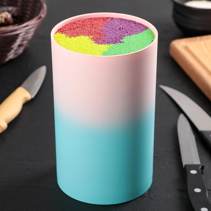 """Подставка для ножей 11×18 см """"Градиент"""", с наполнителем, цвет голубо-розовый"""