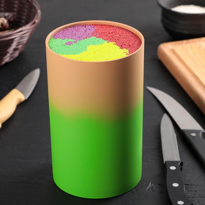 """Подставка для ножей 11×18 см """"Градиент"""", с наполнителем, цвет оранжево-зелёный"""