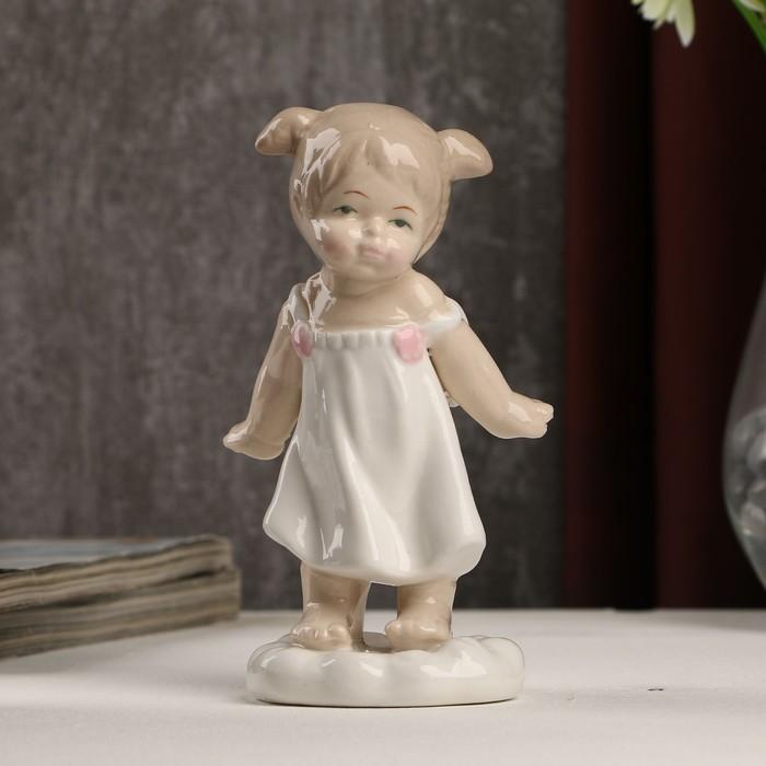 "Сувенир керамика ""Ангелочек-девочка на облачке в белом платьице"" 13х6х6 см"