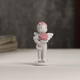 """Сувенир полистоун """"Белоснежный ангел в розовом веночке с букетом роз"""" 5,3х2,3х2,3 см"""