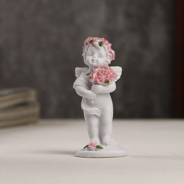 """Сувенир полистоун """"Белоснежный ангел в розовом веночке с розами"""" 6,5х2,5х2,8 см"""